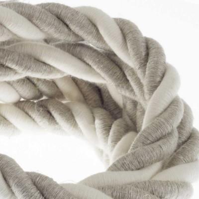 Električno uže 2XL, kabel 3x0,75 prekriven s prirodnim lanom i pamukom. Promjer: 24 mm.
