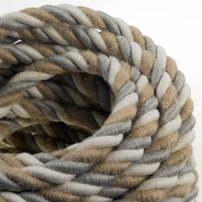 Električno uže XL, kabel 3x0,75 prekriven prirodnim lanom, pamukom i jutom Country. Promjer: 24mm.