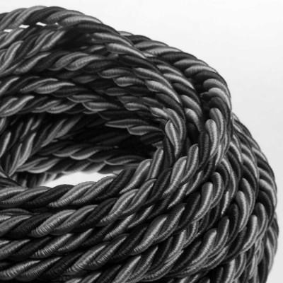 Električno uže XL, kabel 3x0,75 prekriven sjajnim tekstilom Orleans. Promjer: 16mm.