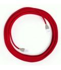 LAN Ethernet kabel Cat 5e s RJ45 utikačima - obloženi rayon platnom RM09 Crveni