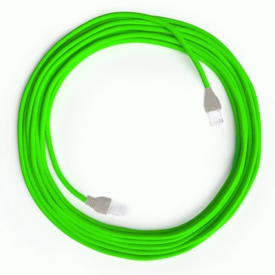 LAN Ethernet kabel Cat 5e s RJ45 utikačima - obloženi rayon platnom RF06 Neon zeleni