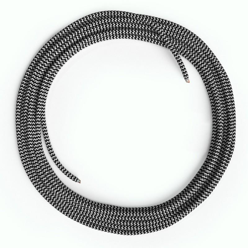 LAN Ethernet kabel Cat 5e bez RJ45 utikača - obloženi rayon platnom RZ04 ZigZag Crno bijeli