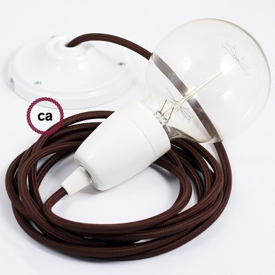Viseća porculanska lampa, set s tekstilnim kabelom RM13 - Smeđi rajon