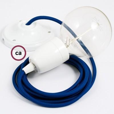 Viseća porculanska lampa, set s tekstilnim kabelom RM12 - Plavi rajon