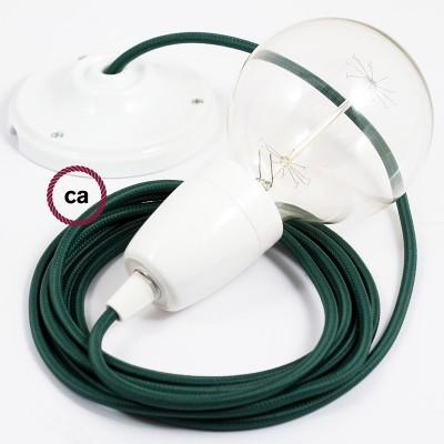 Viseća porculanska lampa, set s tekstilnim kabelom RM21 - Tamno Zeleni rajon