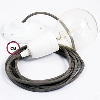 Viseća porculanska lampa, set s tekstilnim kabelom RM03 - Sivi rajon