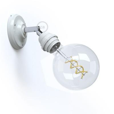 Fermaluce 90° Monochrome s navojnim glom za žarulje E27, prilagodljiva porculanska lampa
