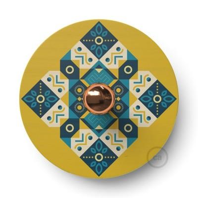 Fermaluce Ethnic drveni UFO disk obostrano ilustriran od strane različitih umjetnika
