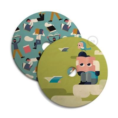 Sjenilo - UFO drveni disk s ilustracijama raznih umjetnika, promjer 33 cm, obostrano ilustriran
