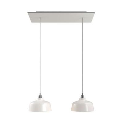 Viseća svjetiljka s 2 ispusta, pravokutnom XXL Rose-One rozetom 675 mm, tekstilnim kabelom i keramičkim sjenilima linije Coppa