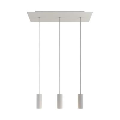 Viseća svjetiljka s 3 ispusta, pravokutnom XXL Rose-One rozetom 675 mm, tekstilnim kabelom i metalnim Tub-E14 sjenilima