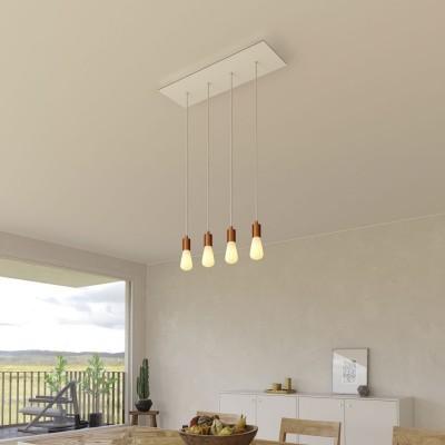 Viseća svjetiljka s 4 ispusta, pravokutnom XXL Rose-One rozetom 675 mm, tekstilnim kabelom, komponente u bojama metala.
