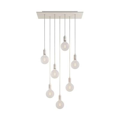 Viseća svjetiljka s 7 ispusta, pravokutnom XXL Rose-One rozetom 675 mm, tekstilnim kabelom, komponente u bojama metala.