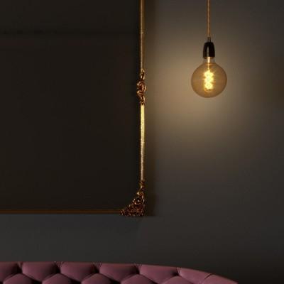 Viseća lampa s zamotanim tekstilnim kabelom i porculanskim dijelovima - Proizvedeno u Italiji