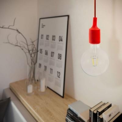 Viseća lampa s tekstilnim kabelom i silikonskim dijelovima - Proizvedeno u Italiji