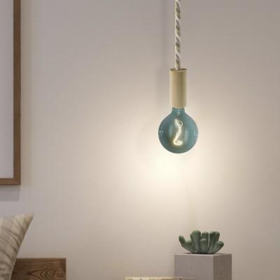 Viseća lampa s mornarskim užem XL kabelom i drvenim dijelovima - Proizvedeno u Italiji