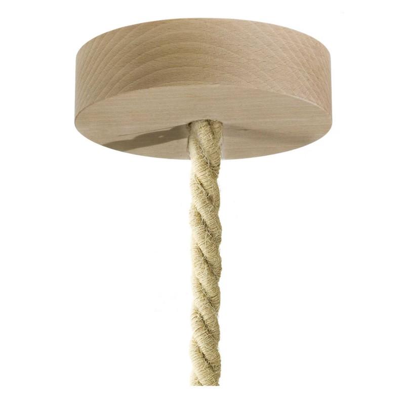Viseća lampa s mornarskim užem XL kabelom i malim grlom od grane s korom - Proizvedeno u Italiji