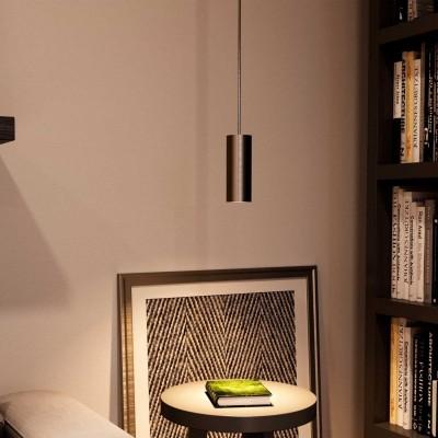 Visilica s tekstilnim kabelom, Tub-E14 sjenilom i metalnim detaljima - Proizvedeno u Italiji