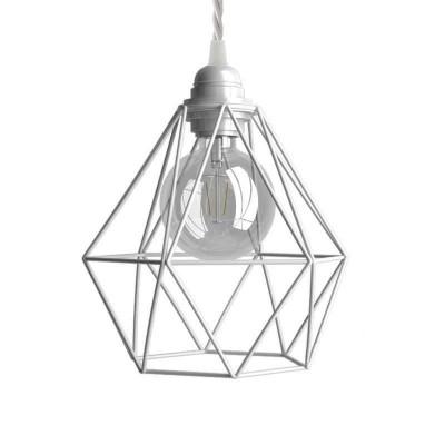Visilica s tekstilnim kabelom, kavez Diamond sjenilom i metalnim detaljima - Proizvedeno u Italiji