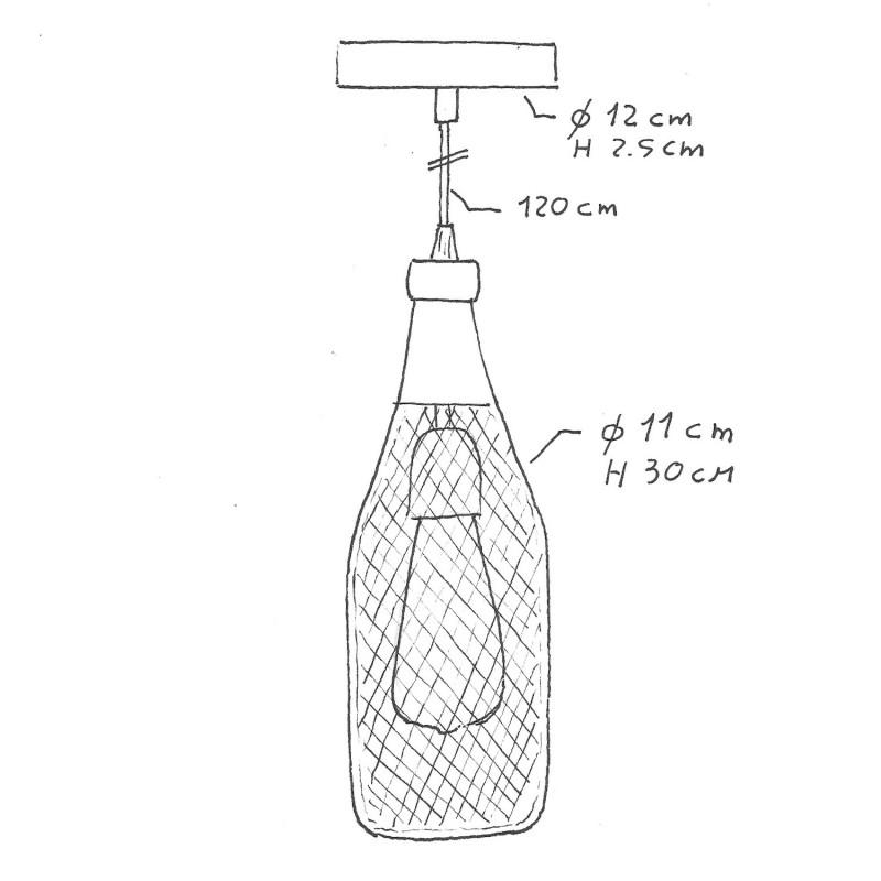 Visilica s tekstilnim kabelom, Magnum bottle sjenilom i metalnim detaljima - Proizvedeno u Italiji