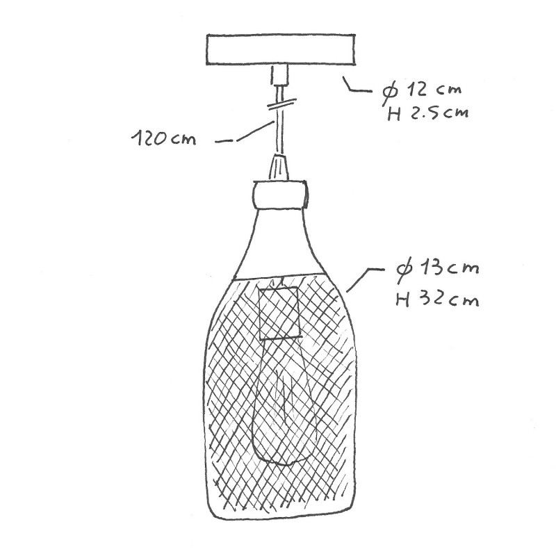 Visilica s tekstilnim kabelom, Jéroboam bottle sjenilom i metalnim detaljima - Proizvedeno u Italiji