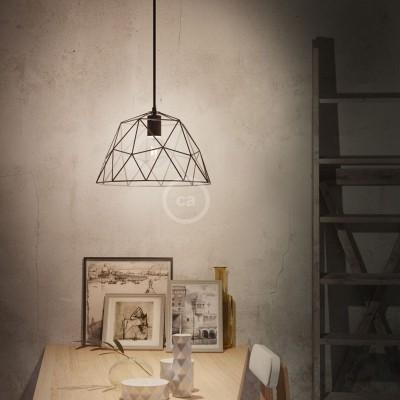 Visilica s tekstilnim kabelom, Dome sjenilom i metalnim detaljima - Proizvedeno u Italiji