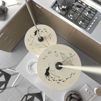 Visilica s tekstilnim kabelom, UFO obostarano oslikanim drvenim sjenilom i metalnim detaljima - Proizvedeno u Italiji
