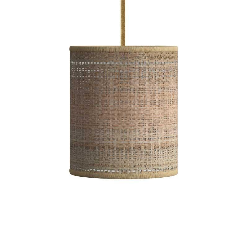 Visilica s tekstilnim kabelom, Cylinder sjenilom od rafije i metalnim detaljima - Proizvedeno u Italiji