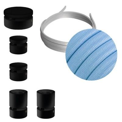 Filé Sistem Wiggle Kit - s 3m plosnatog kabela(String Light) i 5 unutarnjih crno obojanih drvenih komponenata