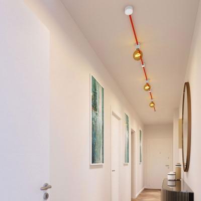 Filé System Linear Kit - s 5m plosnatog (String Light) kabela i 7 unutarnjih bijelo obojanih drvenih komponenata