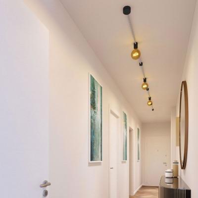 Filé System Linear Kit - s 5m plosnatog (String Light) kabela i 7 unutarnjih crno obojanih drvenih komponenata