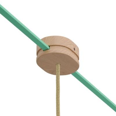 Ovalna drvena rozeta s 1 središnjom I dvije bočne rupe za plosnati kabel (String Light) i Filé system. Made in Italy
