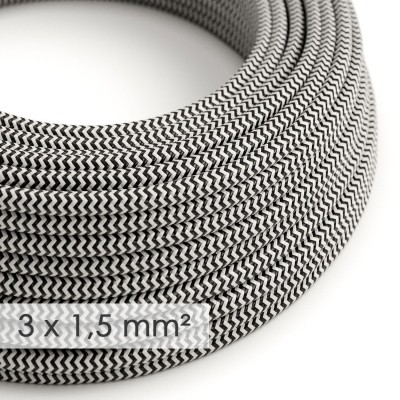 Okrugao kabel većeg presjeka (3x1,50) - cik-cak crn RZ04