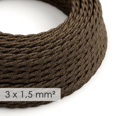 Zamotan kabel većeg presjeka (3x1,50) - braon prirodni lan TN04