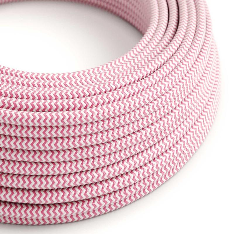 Okrugli tekstilni električni kabel RZ08 - fuksija