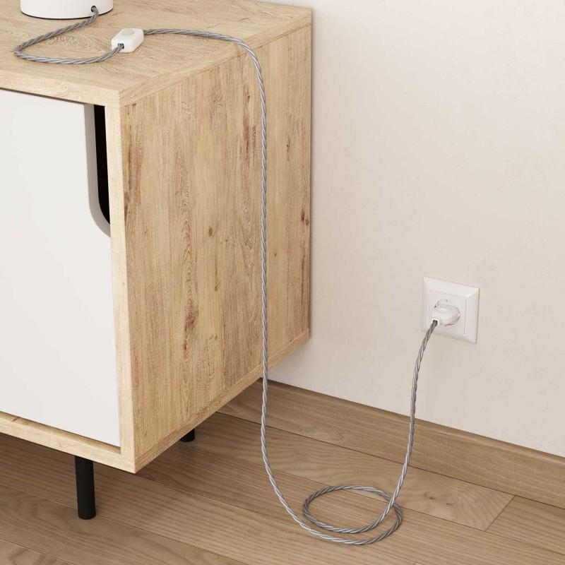 Zamotan tekstilni električni kabel TM02 - srebrna
