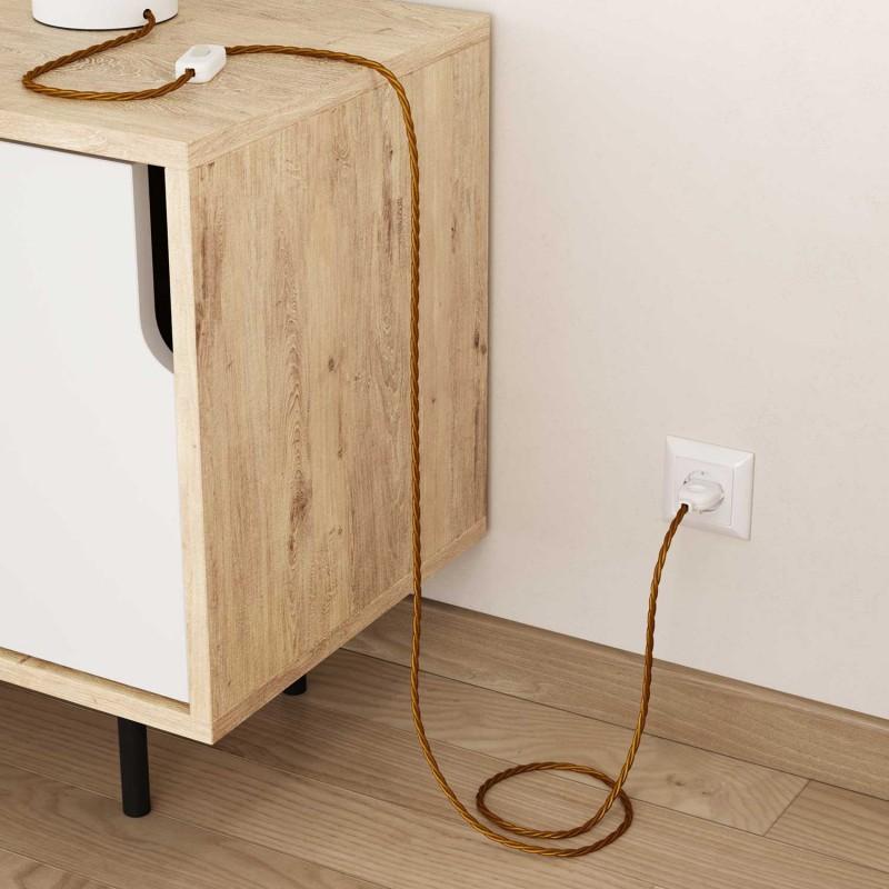 Zamotan tekstilni električni kabel TM05 - zlatna
