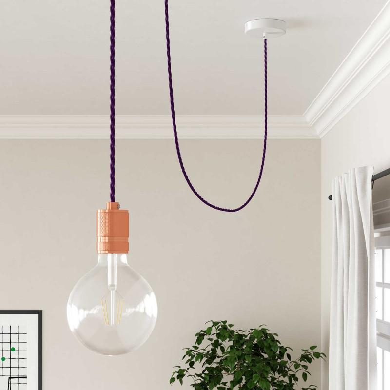 Zamotan tekstilni električni kabel TM14 - purpurna