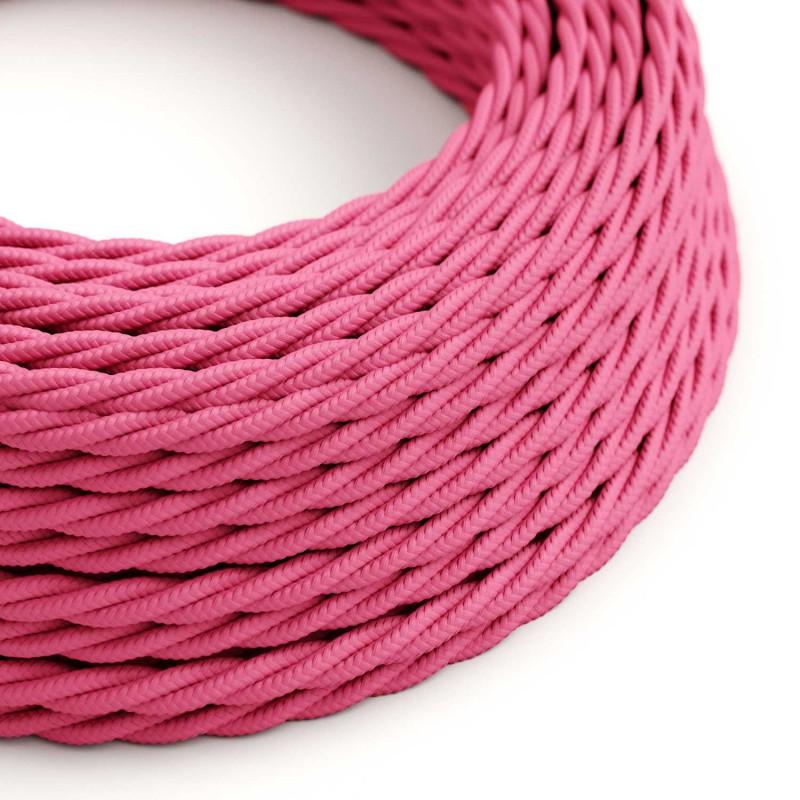 Zamotan tekstilni električni kabel TM08 - fuksija