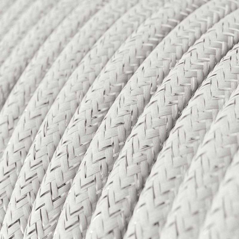 Okrugli blještavi tekstilni električni kabel RL01 - bijela