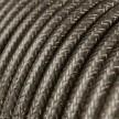 Okrugli blještavi tekstilni električni kabel RL03 - siva