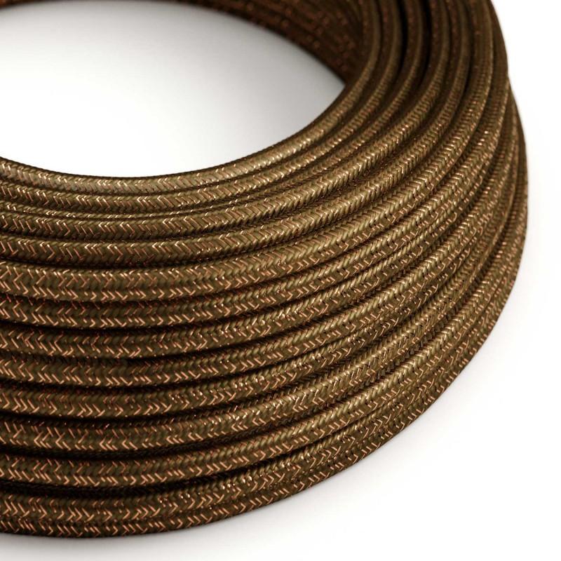 Okrugli blještavi tekstilni električni kabel RL13 - braon