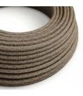 Okrugli tekstilni električni kabel RN04 braon prirodni lan