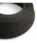 Okrugli tekstilni električni kabel RN03 antracit prirodni lan