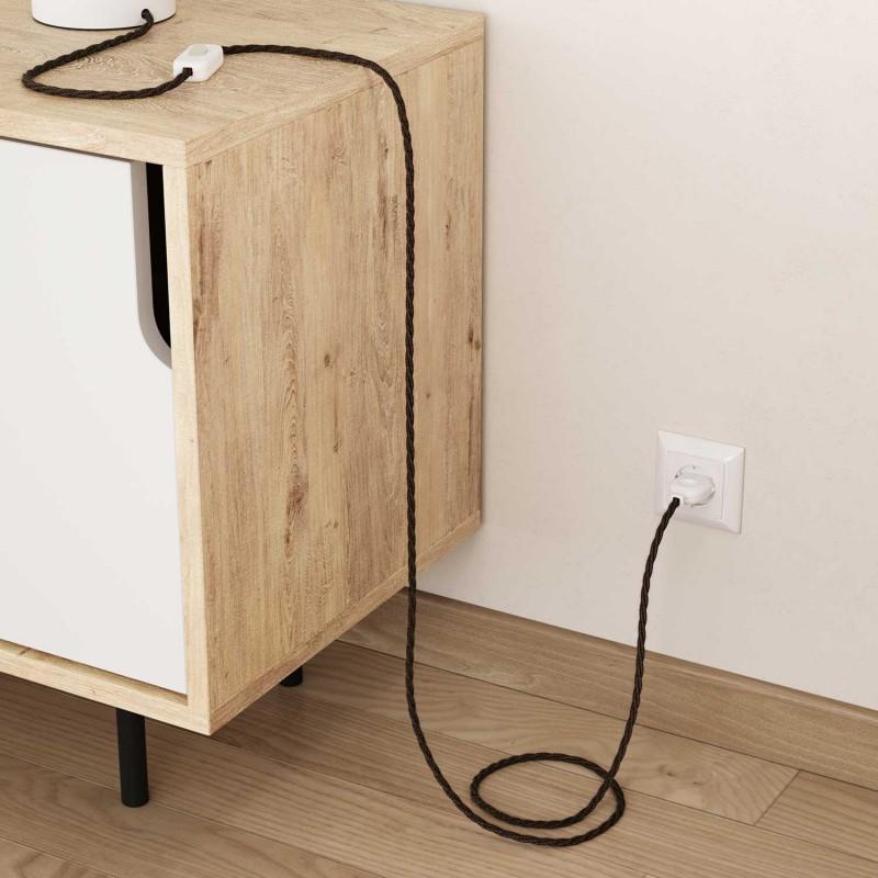 Zamotan tekstilni električni kabel Lighting Flex TN04 braon prirodni
