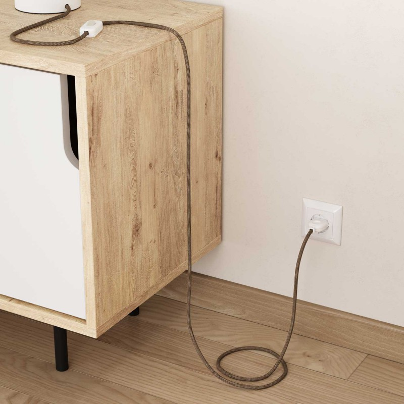 Okrugli električni kabel Cik Cak RD73 romb, prirodni lan in smeđi pamuk