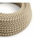 Okrugli tekstilni kabel RD53 crte, prirodni lan in braon pamuk