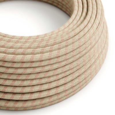 Okrugli električni kabel RD51 crte, prirodni lan in ružičasti pamuk