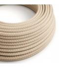 Okrugli tekstilni električni kabel RD61 romb, prirodni lan in ružičasti pamuk