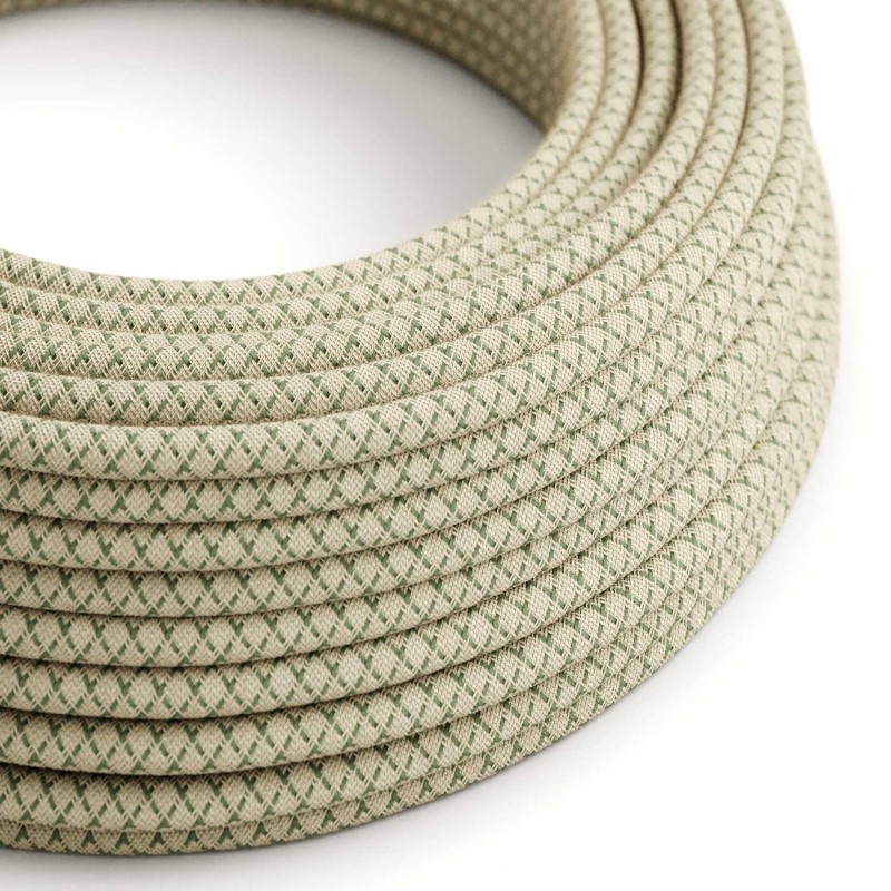 Okrugli električni kabel RD62 romb, prirodni lan i timijan zeleni pamuk